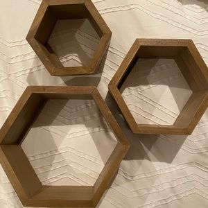 Natural Wood Hexagon Shelves - Set of 3